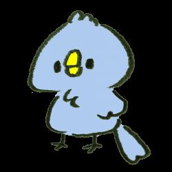 何も考えずにぼーっとする青い鳥のイラスト