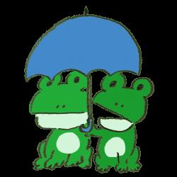 2人でカサをさして雨をしのぐカエルのイラスト