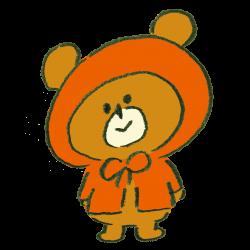 雨合羽を着た熊のイラスト