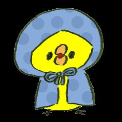 水玉模様の雨合羽を着たひよこのイラスト
