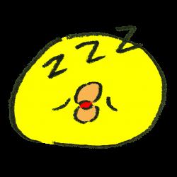 絵文字風の眠っているひよこのイラスト